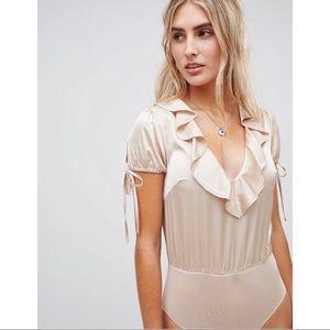 ASOS Tops - WILD HONEY 🍯 Satin Bodysuit W/Frill Plunge Collar